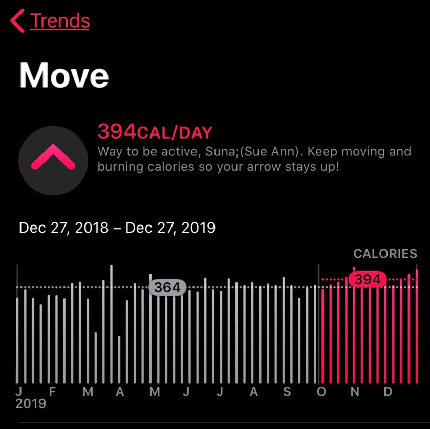 screenshot of exercise app