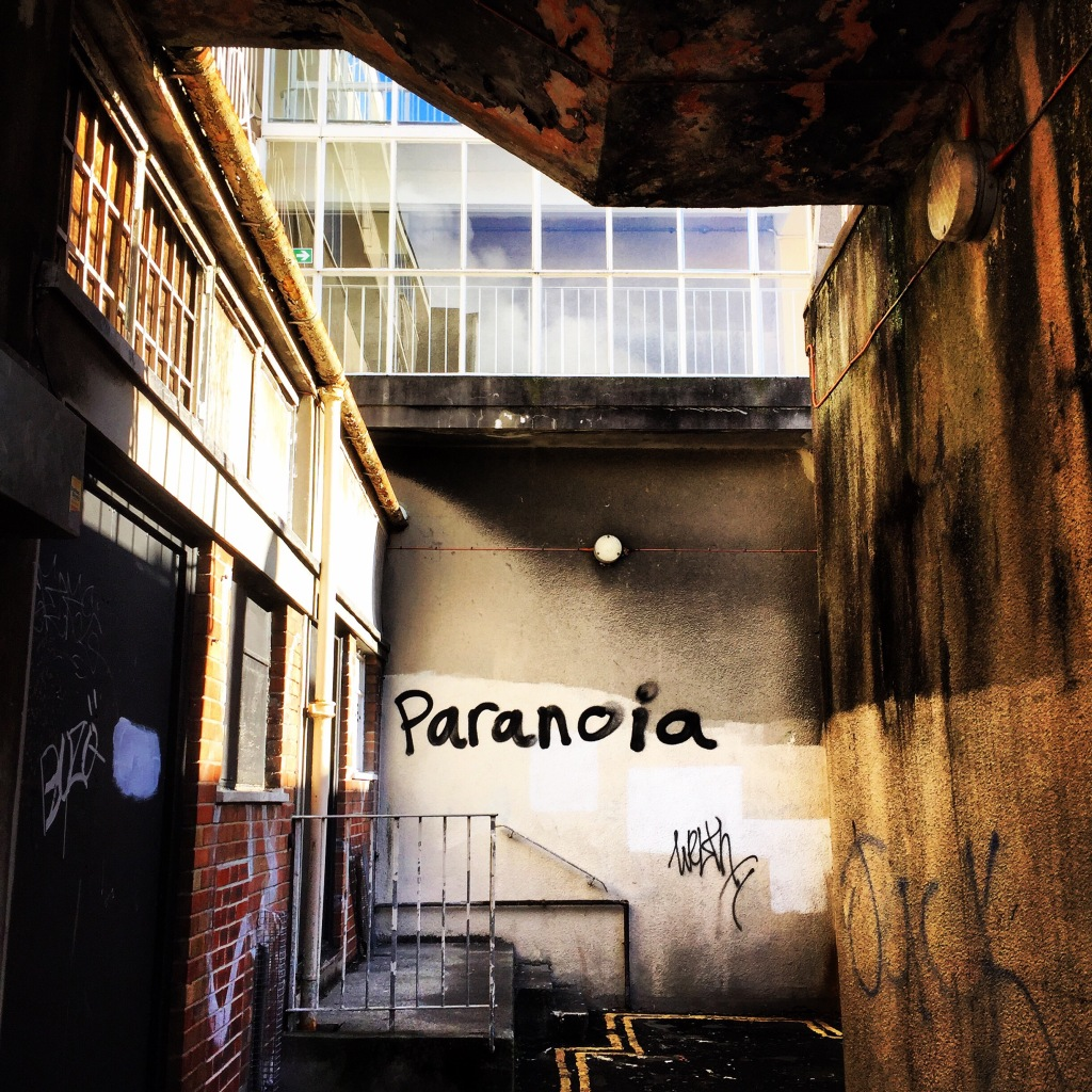 graffiti that says paranoia